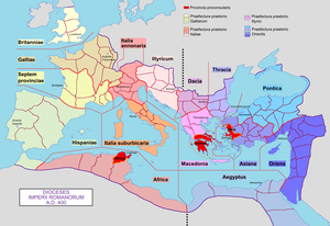 Exarch - Later dioceses of the Roman Empire, around 400 AD