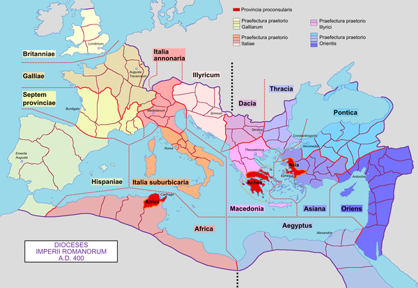 Later dioceses of the Roman Empire, around 400 AD Roman Empire with dioceses in 400 AD.png