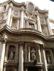 Facciata di San Carlo alle Quattro Fontane, in Roma
