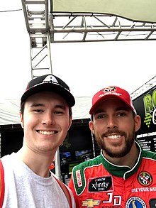 Me (left) with Ross Chastain the day before the 2018 Bar Harbor 200 at Dover International Speedway. #MelonManChallenge
