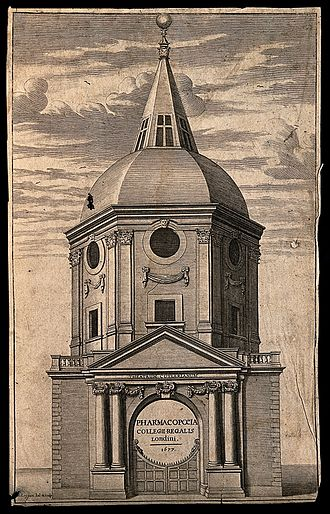 Royal College of Physicians - The Cutlerian Theatre in Warwick Lane, an anatomy theatre designed by Robert Hooke rebuilt after the Fire (demolished 1866). The frontispiece to the Royal College's pharmacopeia, 1677. Engraving by David Loggan
