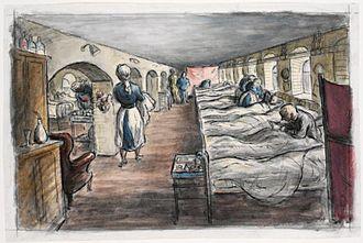 Royal Herbert Hospital - Basement Ward, 1941: watercolour by official war artist Edward Ardizzone