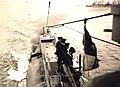 Royal Navy submarine, HMS E34, leaving Harwich Harbor, England (21331933118).jpg