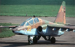 Sukhoi Su-25 - A Russian Air Force Su-25UB. This version is a two-seater intended for both combat and training.