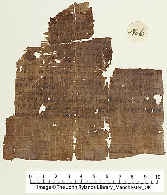Oldest extant manuscript of the Nicene Creed, dated to the 5th Century Rylands Nicene Creed papyrus.jpg