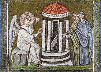 Monza ampullae - Early 6th century mosaic in San Apollinare Nuovo, Ravenna with a depiction of the Women at the empty tomb  similar to that on ampullae, though reversed and with no censer.