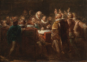 Act of Abjuration - The signing of the Act in a 19th-century painting