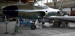 Saab 32 Lansen - A J 32E Lansen on static display