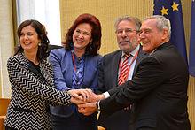 Laura Boldrini con Solvita Āboltiņa, Mars Di Bartolomeo e Pietro Grasso nel 2014.