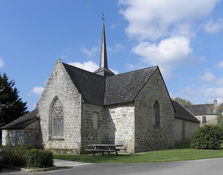 Église Saint-Aignan, commune de Saint-Aignan (56). Chevet et flanc nord.