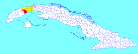 San Cristóbal municipality (red) within Artemisa Province (yellow) and Cuba
