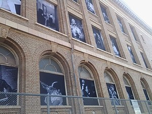 San Francisco Unified School District - Windows of that San Francisco Unified School District building covered with photos of jazz legends.