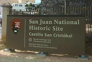 San Juan National Historic Site - Official San Juan National Historic Site sign.