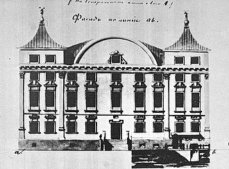 Sapieha Palace, Vilnius - Drawing of the palace's main facade before reconstruction, in 1830