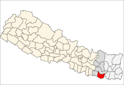 map of Saptari, Nepal