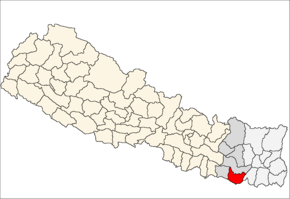 Saptari District i Sagarmatha Zone (grå) i Eastern Development Region (grå + lysegrå)