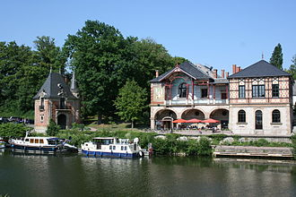 Sarreguemines - View of the Saar River and the casino