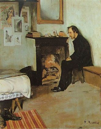 Pièces froides - Satie in his first room at 6 Rue Cortot. Circa 1891 painting by Santiago Rusinol