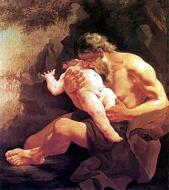 Child cannibalism - Saturn Devouring His Son by Giambattista Tiepolo, 1745.