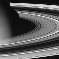 Cassini spacecraft: October 27, 2004; Backlit rings in detail. The thick B ring appears darkest from this side.