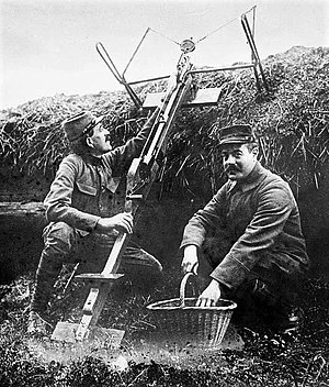 Grenade launcher - French soldiers with a Sauterelle c1915.