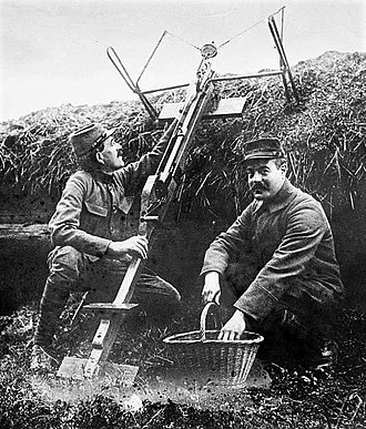 Grenade launcher - French soldiers with a Sauterelle c1915