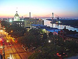 View from Bay Street, downtown Savannah
