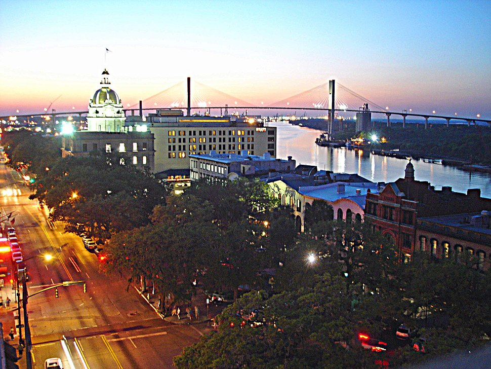 Downtown Savannah viewed from Bay Street