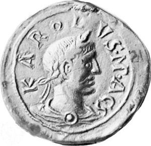 "Charles the Fat - A seal of Charles III with the inscription KAROLVS MAGS (""Carolus Magnus"")"
