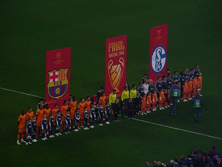 FC Schalke 04 in the UEFA Champions League line-up against FC Barcelona. Schalke04 Barcelona CL0708 02.jpg
