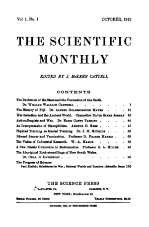 The Scientific Monthly - First issue, October 1915