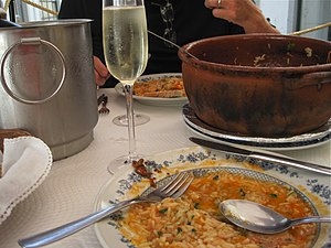 Lunch - An arroz de marisco (shellfish-rice) lunch dish in Portugal