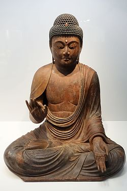 Seated Amida Nyorai (Amitabha), Kamakura period, 12th-13th century, wood with gold leaf and inlaid crystal eyes - Tokyo National Museum - DSC05345.JPG
