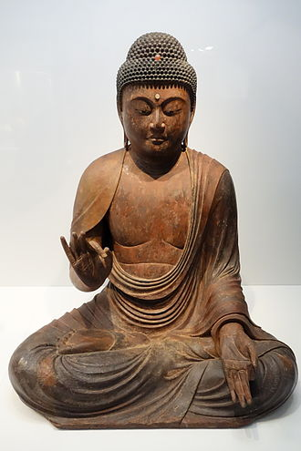 Amitābha - Amitābha statue in gold leaf with inlaid crystal eyes. Tokyo National Museum, Tokyo, Japan