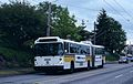 Seattle MAN articulated trolleybus on NW Market St in 1994.jpg