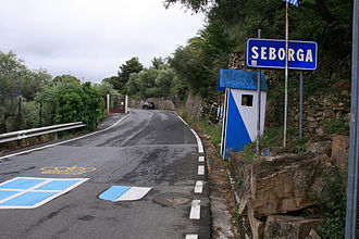 Micronation - The putative border crossing from Italy into the Principality of Seborga