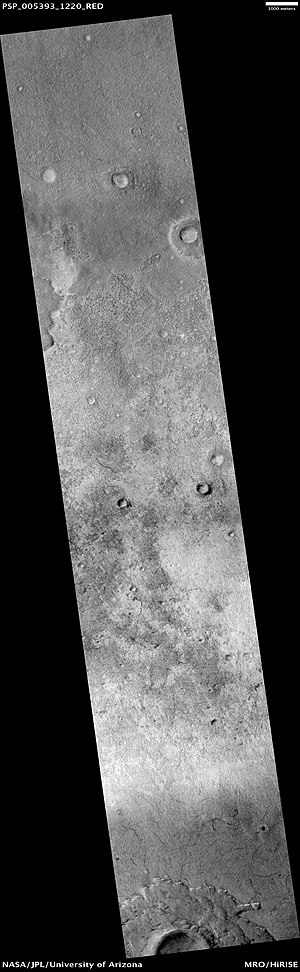 Hellas quadrangle - Secchi Crater Floor, as seen by HiRISE.  Click on image to see dust devil tracks and a pedestal crater
