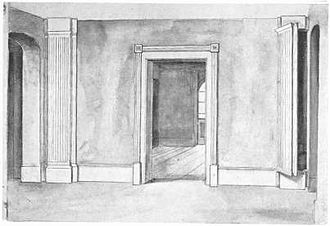 Priest hole - The concealed entrance to a priest hole in Partingdale House,  Middlesex (in the right pilaster)
