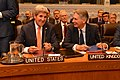 Secretary Kerry Chats With UK Foreign Secretary Hammond Before a Meeting With EU, P5+1, and Iran Foreign Ministers at UN Headquarters in New York City (21610074668).jpg
