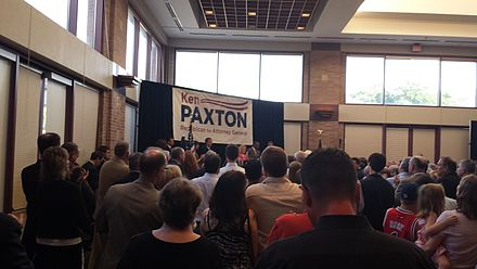 Paxton's 2013 campaign announcement Sen. Ken Paxton announces run for Attorney General (9421010715).jpg