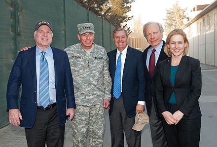 Senator Lieberman with bipartisan delegation John McCain (R-AZ), Lindsey Graham (R-SC) and Kirsten Gillibrand (D-NY) visit International Security Assistance Force in Afghanistan and Commander of NATO and ISAF David H. Petraeus in 2010 Senators McCain, Graham, Liberman, and Gillibrand (5169093576 1738c8c1d2 o).jpg