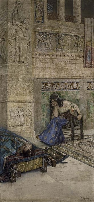Armenian mythology - Shamiram stares at the corpse of Ara the Beautiful (painting by Vardges Sureniants, 1899).