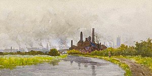 Derby Sketching Club - The Sharon Chemical Works- A J Keene, a member of the Derby Sketching Club