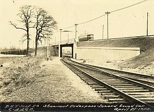 Dorchester and Milton Branch Railroad - Milton Branch freight tracks pass under the high-speed trolley line at Shawmut Junction in 1930