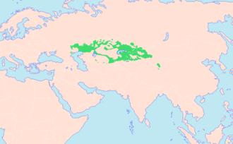 Carte d'Asie, représentant les zones kazakhophones.