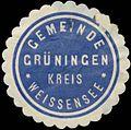 Siegelmarke Gemeinde Grüningen Kreis Weissensee W0383042.jpg