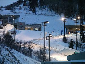 Utah Olympic Park Track - Looking at bobsled/skeleton start and men's luge start
