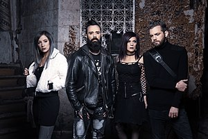 Press photo of Skillet, 2019. From left to right: Jen Ledger, John Cooper, Korey Cooper and Seth Morrison.