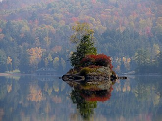 Island - A small island in Lower Saranac Lake in the Adirondacks, New York state, U.S.