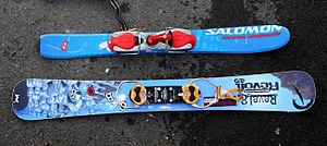 Skiboarding - The difference in size and shape of a typical snowblade/skiblade as compared to the larger symmetrical skiboard.